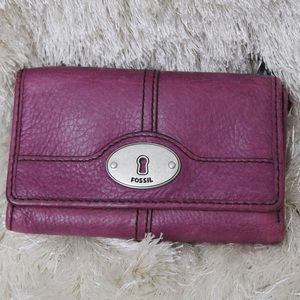 Fossil Leather Marlow Trifold Wallet Purple